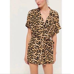 Urban Outfitters Zoe Side Tie Wrap Leopard Romper